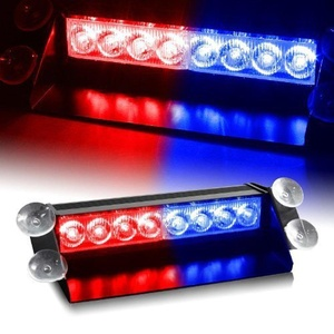 XT AUTO 8 LED Warning Caution Car Van Truck Emergency Strobe Light Lamp For Interior Roof Dash Windshield Red and Blue