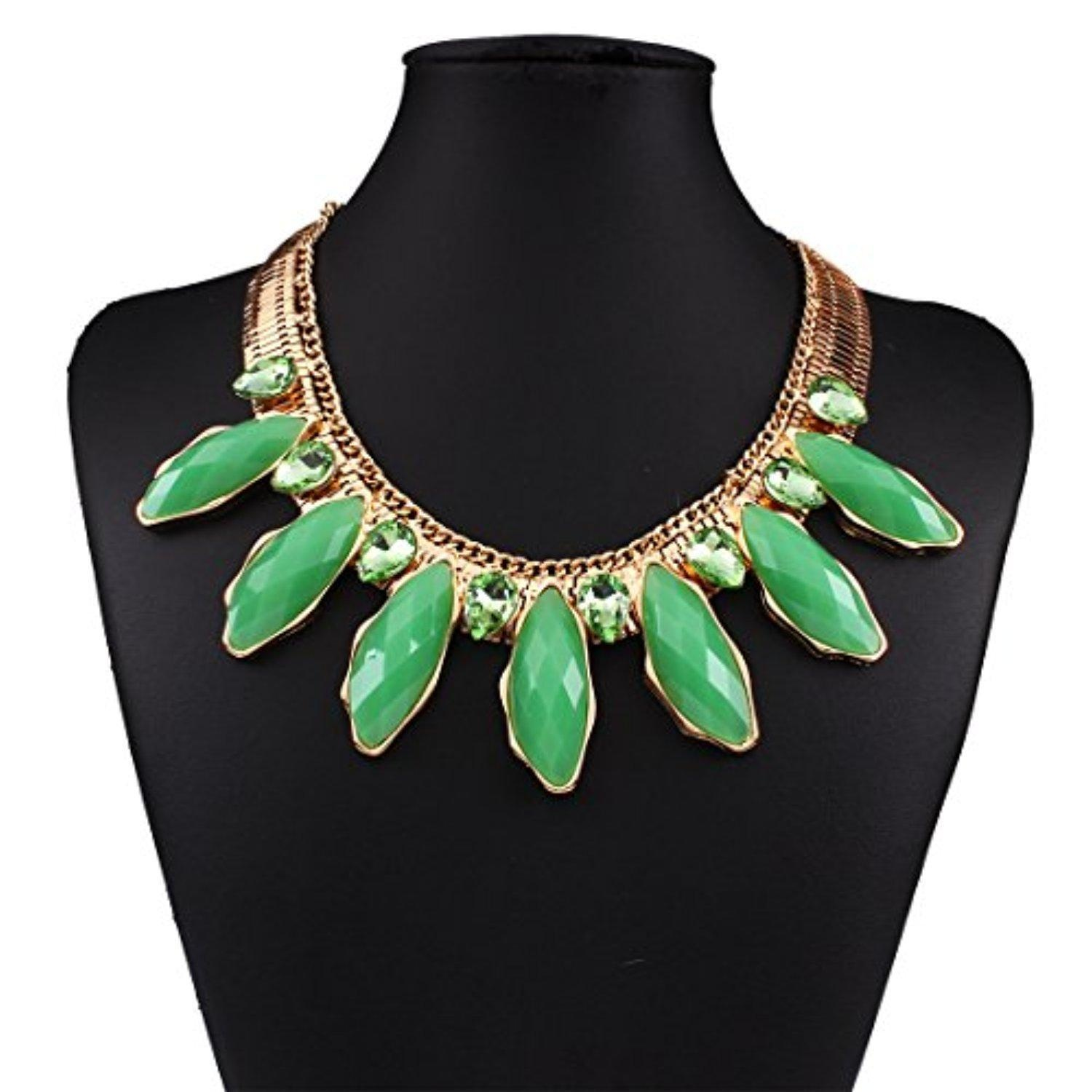 ARICO Resin Necklace Snake Chain Statement Necklace Crystal Necklace Jewelry NE795