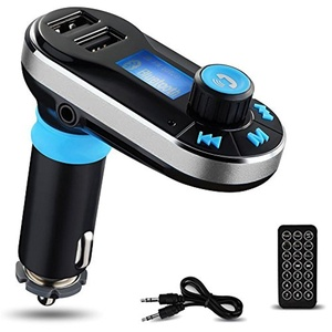 Bluetooth MP3 Player, Yokkao FM Transmitter Car Charger Car Kit Charger Hand-free Support Dual USB Ports/ SD Card/ USB Driver/ AUX Input with Remote Control