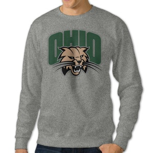 Men's Ohio Bobcats Round Collar Pullover HoodieAsh Size M