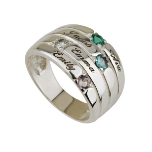 Mothers Ring Engraved Birthstone Ring 4 Stone Ring -925 Sterling Silver - Personalized & Custom Made (8)