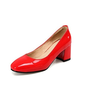 VASHOP Women's Patent Leather Squared Toe Block Mid Heel Mary Jane Pumps,Red/4
