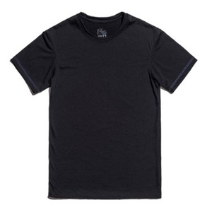 Unisex 100% Merino Wool Short Sleeve Crew T Shirt (Small, Black)