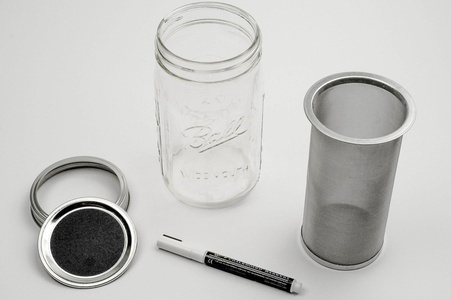 Cold Brew Coffee Maker by The Cold Brew Company for Iced Coffee and Tea- Stainless Steel Filter - Wide Mouth Mason Jar - Chalk Board Labels