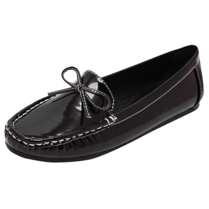 D2C Beauty Women's Casual PU Leather Driving Flat Loafers Shoes - Black 5 M US
