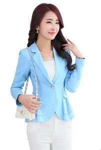 MWW Candy Color Office Blazer Casual OL Long Sleeve Suits Slim Fit One Button Jacket Blue Blazers for Juniors Womens