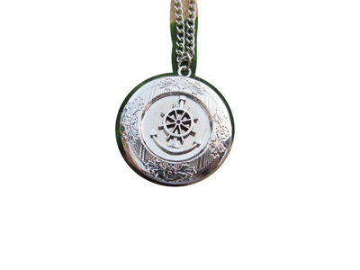 Sail Away,rudder,Anchor Locket,Luck,Nautical Necklace,Ancient Silver Locket,Ocean Locket