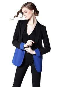 Lerela Women'S Elegant Blue Black Splice Open Front Business Coat Jacket Blazer Outwear