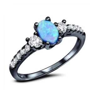 Accent 3 Stone Wedding Ring Oval Cut Lab Created Blue Opal Round CZ Black Gold Plated 925 Sterling Silver