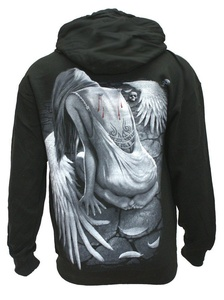 BROKEN ANGEL - Mens - Black Hoodie Sweater .