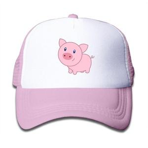 Kids Boys Girls Cute Cartoon Pig Trucker Hat Baseball Cap (3 Colors) Pink