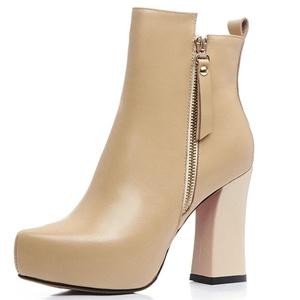 Nine Seven Genuine Leather Women's Pointed Toe Chunky Heel Platform Zip Handmade Ankle Bootie (10, camel)