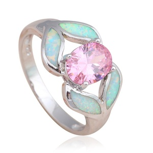 FT-Ring Pink crystal fashion jewelry White fire Opal Jewelry For Women Engagement Wedding Bridal Rings (7)