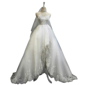 JoyVany A Line High Low Appliques Wedding Dresses Lace Beaded Wedding Gowns White Size 16