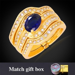 delatcha Jewelry Crystal Ring Men Jewelry Cubic Zirconia Fashion Jewelry With BOXStamp Gold Plated Ring R352