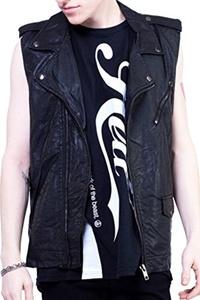 Lip Service Gothic Motorcycle Punk Rocker Biker Faux Leather Vegi Vest (M)