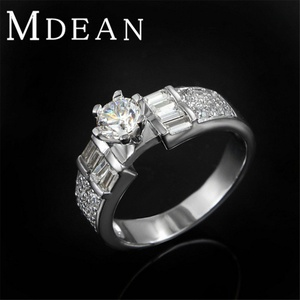 Slyq Jewelry Engagement Vintage Ring Platinum Filled Bague zircon Luxury wedding Ring