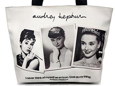 Audrey Hepburn Photo Collage Icon Signature Retro Tote Shoulder Bag Purse Handbag
