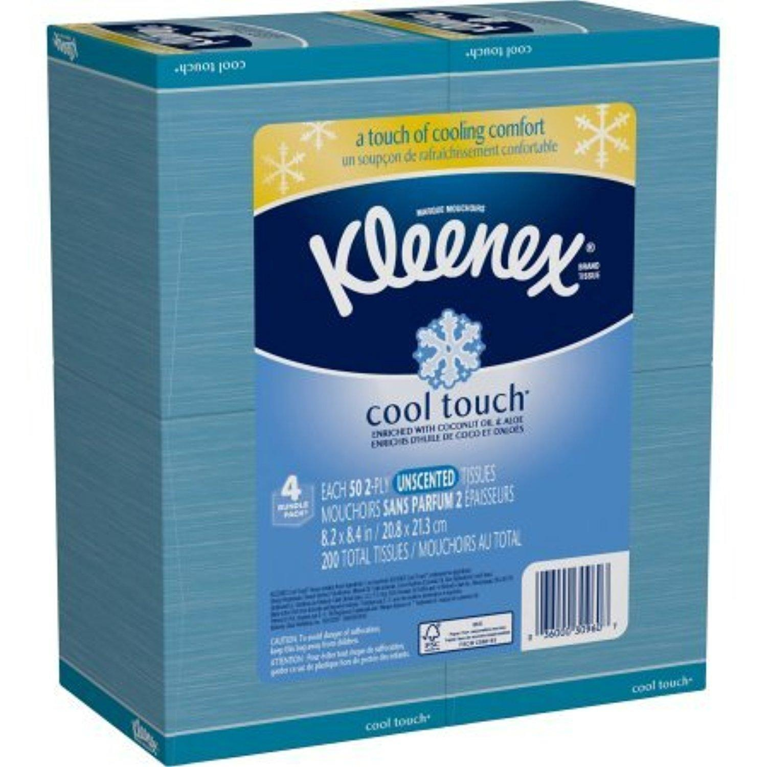 Kleenex Cool Touch Facial Tissues, 50 Tissues per Cube Box, Pack of 4
