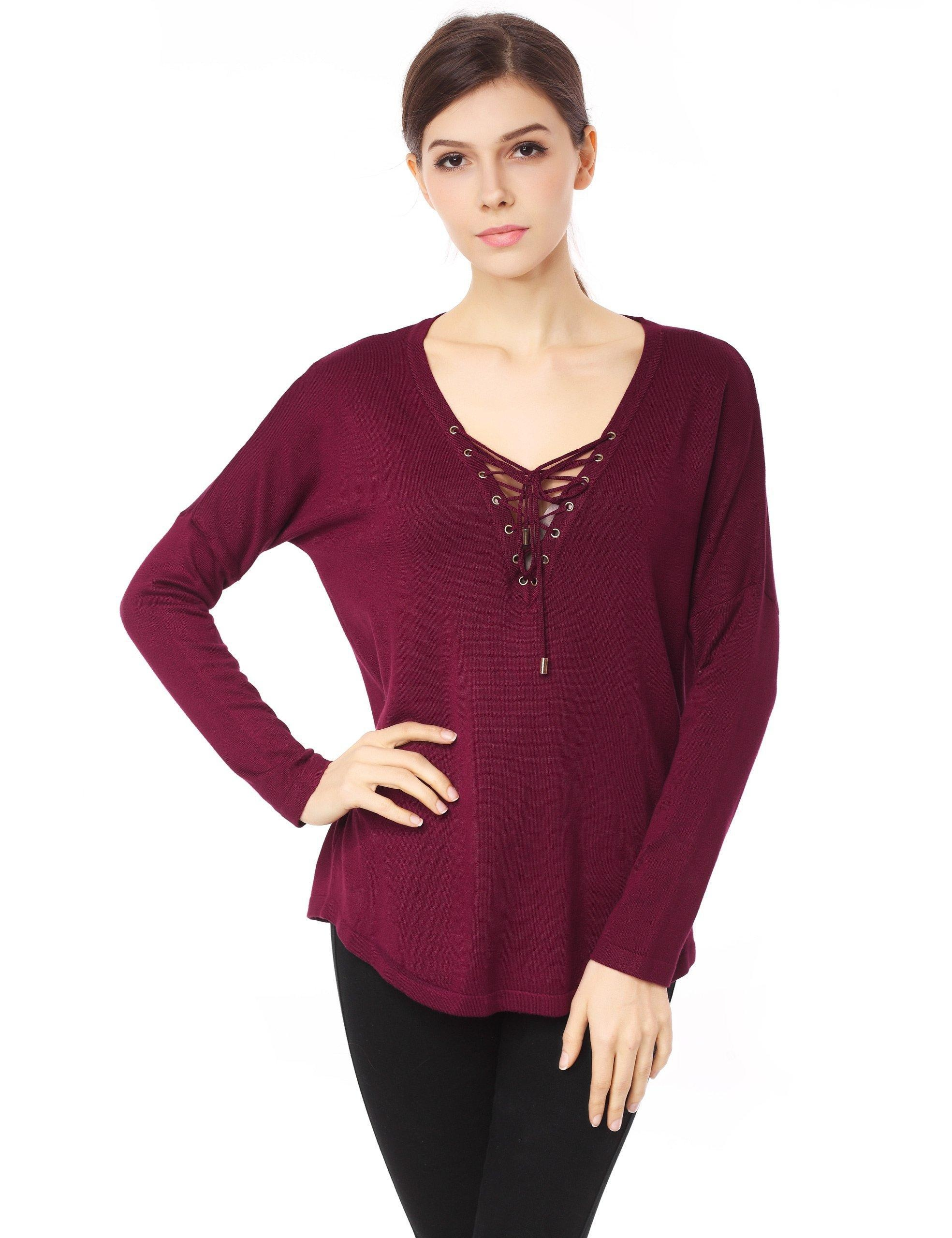 ZLYC Women's Sexy Casual Cross Deep V Neck Long Sleeve Blouse Tops Shirt (Dark Red)