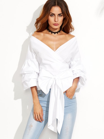 White Off The Shoulder Surplice Top with Bell-Sleeves and Bow Tie