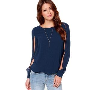 Women Tops , Misaky Loose Sexy Long-sleeved Chiffon Casual Blouse Shirt (B, Dark Blue)