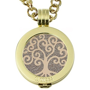 Quiges - Women Stainless Steel Necklace with 25mm Coin Locket and Coin Tree of Life/Flower of Life #1502