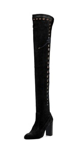 FSJ Womens Almond Toe Chunky Heel Over The Knee High Boots Zippered Suede Shoes Size 10 Black Suede