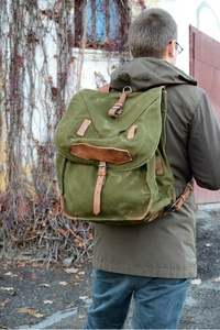 ON SALE Large Military Backpack, Vintage Army Rucksack, Old Army Backpack, Canvas Backpack with Leather Straps, Big Military Green Rucksack