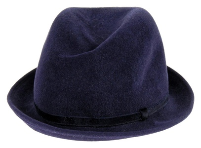 Patricia Underwood For J Crew Felted Fedora One Size Navy W/ Blue Ribbon
