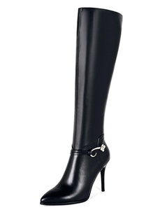Nine Seven Genuine Leather Women's Pointed Toe Stiletto High Heel Zip Knee High Handmade Boot (10, black)