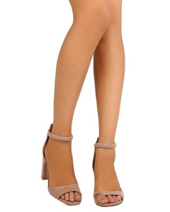 Qupid FE64 Women Faux Suede Peep Toe Ankle Strap Block Heel Sandal - Taupe (Size: 8.0)