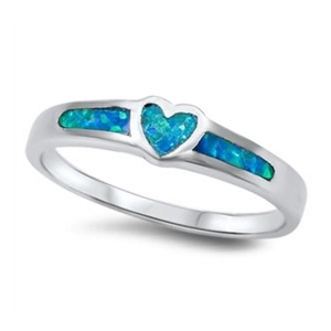 Heart Promise Ring Lab Created Blue Opal 925 Sterling Silver