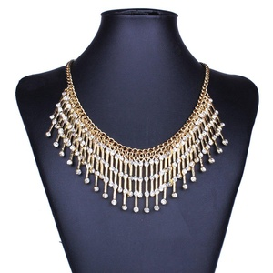 GDSTAR Big Tassel Necklace Multi Layer Maxi Bohemian Necklace Rhinestone Crystal Necklace Jewelry Gold Plated