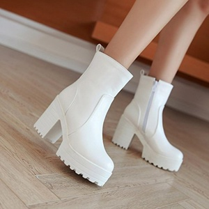 Women Boots Platform Mid Heels Ankle Bootie Fashion PU Ladies Shoe