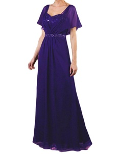 Favors Women's Mother of the Bride Dress Chiffon Formal Gown with Sleeve Purple 22W