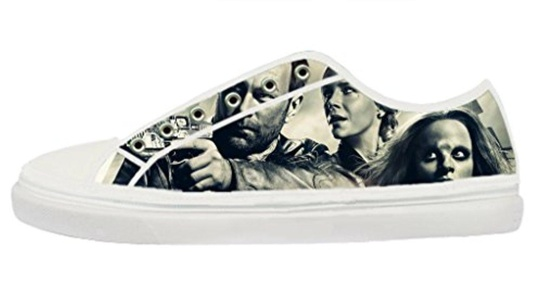 DIY Cool Defiance Image for Women's White Low Top Zipper Canvas Lace-up Sneakers-8M(US)