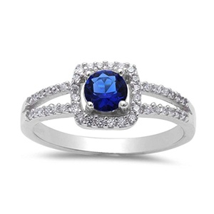 Vintage Halo Solitaire Accent Wedding Ring Round Simulated Sapphire Round CZ 925 Sterling Silver