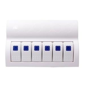 PIXNOR Waterproof White Switch Panel 6 Gang Blue LED Rocker Circuit Breaker for Boat RVs