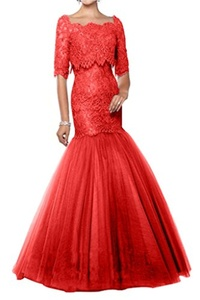 Charm Bridal Tulle Lace Mermaid Long Mother of Bride Women Wedding Party Dresses -6-Red