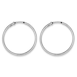 .925 Sterling Silver 34 MM Polished Endless Hoop Earrings