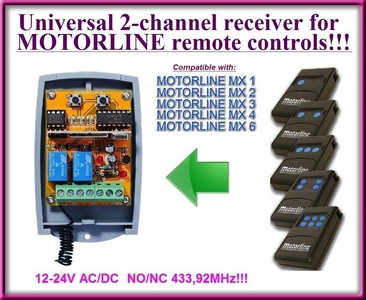 Motorline compatible receiver. 2-channel universal receiver for Motorline MX1 / MX2 / MX3 / MX4 / MX6 remote controls. 12-24V AC/DC, NO/NC 433.92Mhz rolling / fixed code