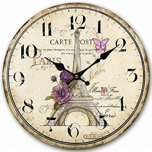 Retro Vintage Style Large Clock Sketch Paris Eiffel Tower Home Decorative Wall Clock Wood