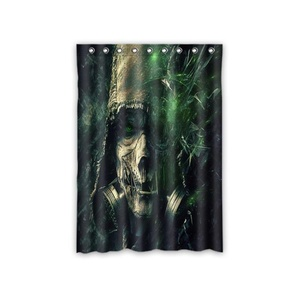 Personalized Green Skull Window Curtain,Included 100% Polyester Waterproof 52
