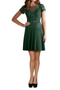 MILANO BRIDE Mother Of Bride Dress Short Sleeves Applique Chiffon Illusion-Neck-4-Dark Green(short)