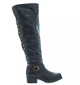 Bamboo Womens Premium Letherette Over The Knee zip Up Studded Lug Sole Motor Boots Capture04 Color Black Size 8.5