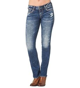 Silver Jeans Women's Suki Mid Rise Slim Boot Jean, Dark Wash Indigo, 31x35