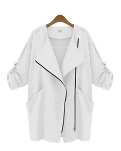 Womens Oblique zipper Lapel Roll Up Sleeve Loose Thin Jacket Trench Coat Outwear White XL