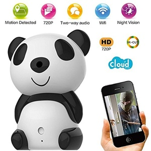 LHBC Cute Panda 720p HD Wireless Remote Hidden Surveillance IP Camera Wifi P2P Home security Spy WebCam Baby Monitor with 2-way Audio IR Day/Night Vision Motion Detection for iPhone Samsung Laptop