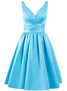 Angel Formal Dresses Women's V Neck Short Formal Party Bridesmaid Dress (6, Blue)